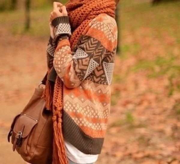sweater orange oversized sweater fall outfits fall sweater fall outfits scarf aztec bag baggy scarf oversized cardigan cardigan fall outfits comfy fall outfits