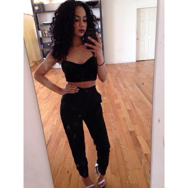 tank top black tank top black pants blouse