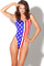 Multi color american flag pattern bodysuit swimsuit