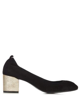 heel suede pumps metallic pumps suede black shoes