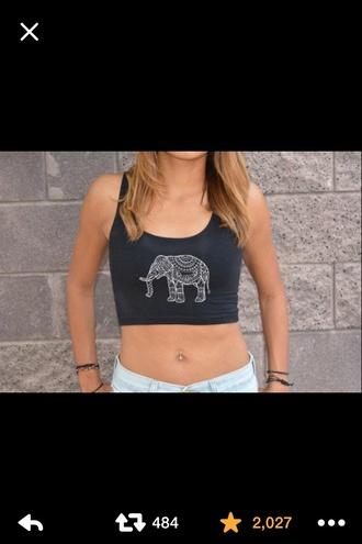 shirt black elephant
