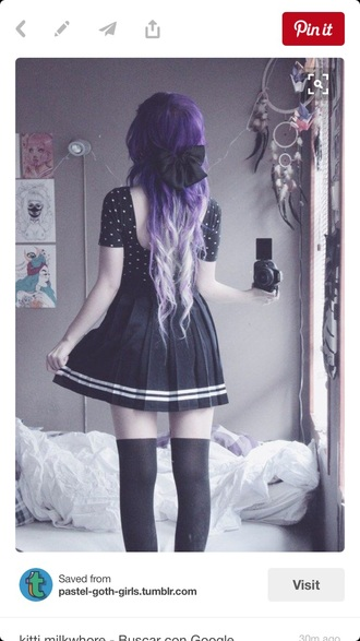 skirt black with stars and moons pastel goth purple kawaii ombre polka dots pastel goth
