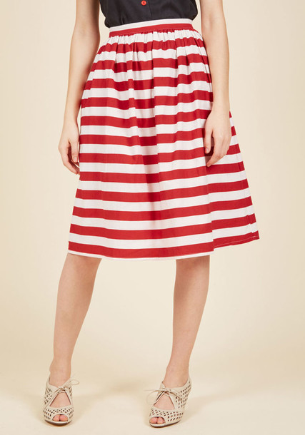 Sp17pic14 style chic high sweet midi classic stripes cotton red jewels