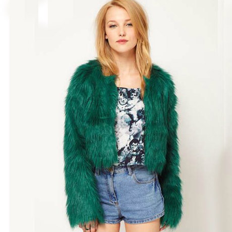 Collarless Short Green Faux Fur Coat