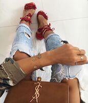 shoes,flat sandals,red sandals,fringe shoes