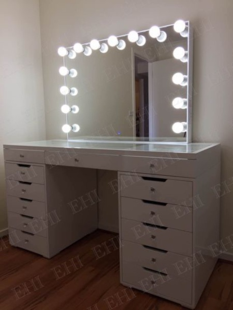 home accessory white makeup table hollywood mirror glossy