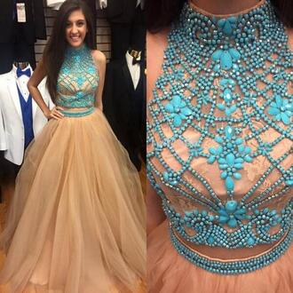 dress blue nude formal prom gown tulle dress homecoming dress elegant vanessawu