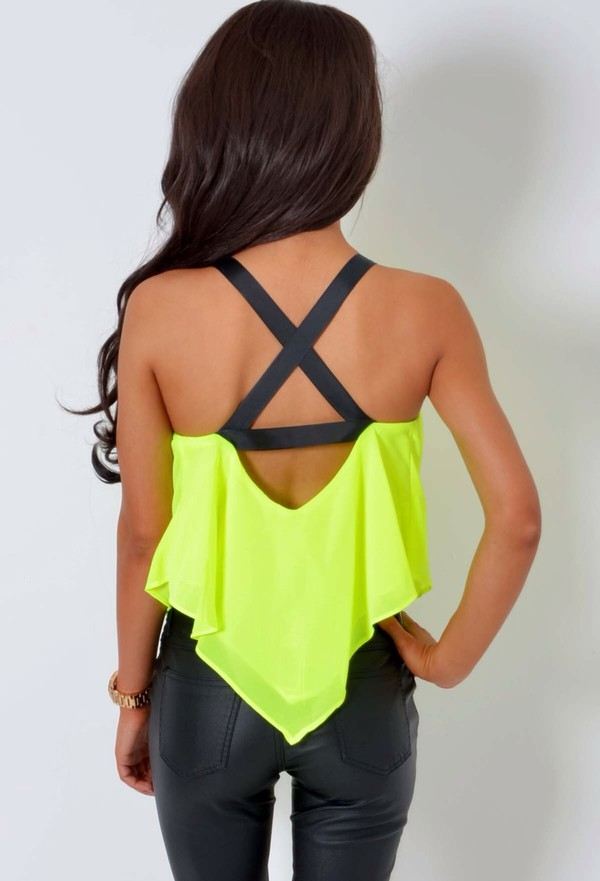 top pants neon yellow neon pink