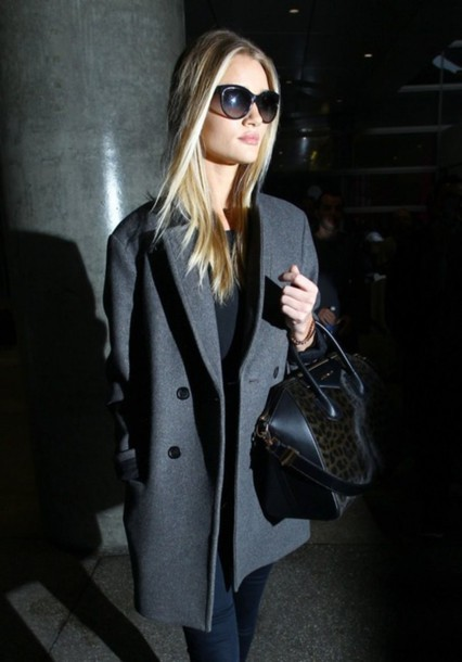 grey coat rosie huntington-whiteley