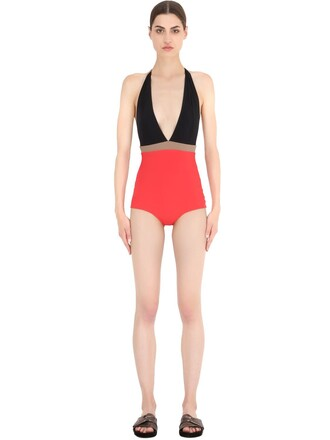 one piece swimsuit black beige red swimwear