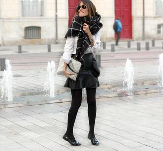 rebel attitude blogger scarf checkered leather skirt watch aviator sunglasses