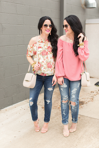 the double take girls blogger top bag jewels shoes blouse jeans shoulder bag ripped jeans sandals high heel sandals
