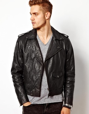 ASOS | ASOS Leather Biker Jacket In Slim Fit at ASOS