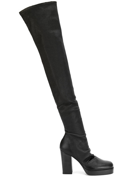 Rick Owens women over the knee boots leather cotton black shoes
