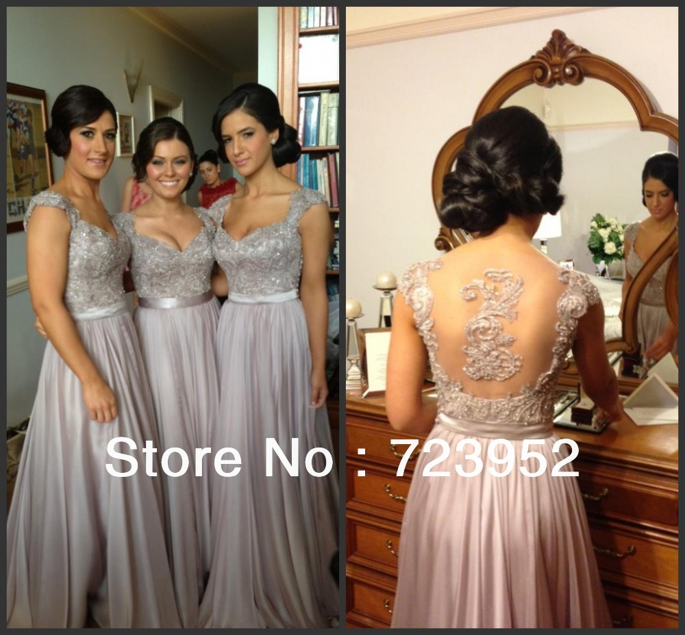 Aliexpress.com : buy bd 112 high quality a line applique cap sleeve chiffon floor length long bridesmaid dresses brides maid dresses  from reliable bridal evening dress suppliers on suzhou aee wedding dress co. , ltd