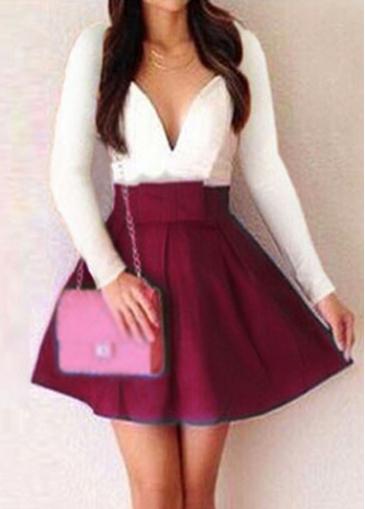 Long Sleeve Deep V Neck Mini Dress - USD $18.97