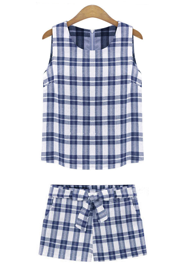 Blue / Black Plaid Sleeveless Top & Tied Waist Shorts Co-Ord Set – Goodnight Macaroon