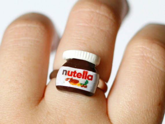 Nutella ring Polymer clay miniature food kawaii sweet by Zoozim