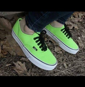 shoes neon yellow vans black laces
