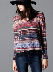 top,ethnic pattern,multicolor,multi,printed top,printed tops,stripes,long sleeves,long sleeve top,long sleeve blouse,casual,teenagers,tribal pattern,aztec,aztec print top,vintage,vintage print,casual top,casual pullover,pullover,women,h m,blouse,sweater,ethnic,colllarless ethnic pattern print blouse,ethnic print,ethnic patterns,printed sweater,long sleeve t-shirt,long sleeved top,lace detailing,scool,print