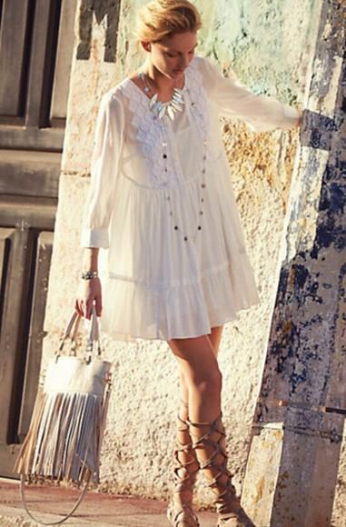 boho white vintage white lace dress boho chic hippie