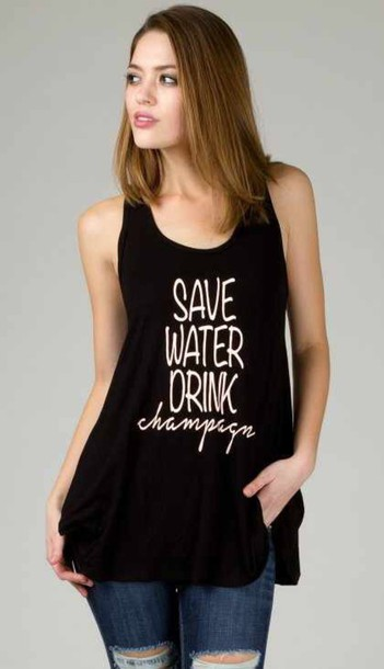 shirt angl champagne tank top graphic tee black tank top drink water racer back tank fashion fashionista stylish chic affordable girly