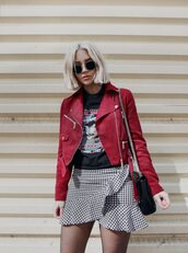 skirt,red jacket,tumblr,wrap skirt,asymmetrical,asymmertical skirt,ruffle,t-shirt,black t-shirt,jacket,sunglasses,bag,black bag,chain bag,tights,fishnet tights