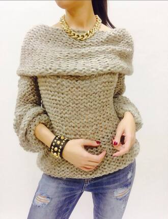 sweater sweater weather grey sweater knitwear knitted sweater knitted cardigan big sweaters shoulder less sweater warm winter sweater winter outfits autumn fasion winterwear winter fashion autumn outifts spring outfits jewels