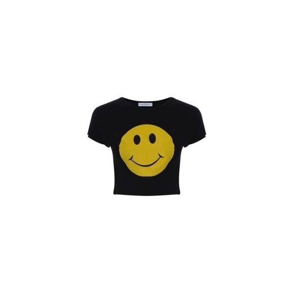 Smiley face printed crop top in black
