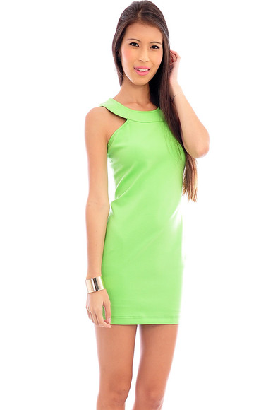 dress neon dress neon green dress racerback halter dress