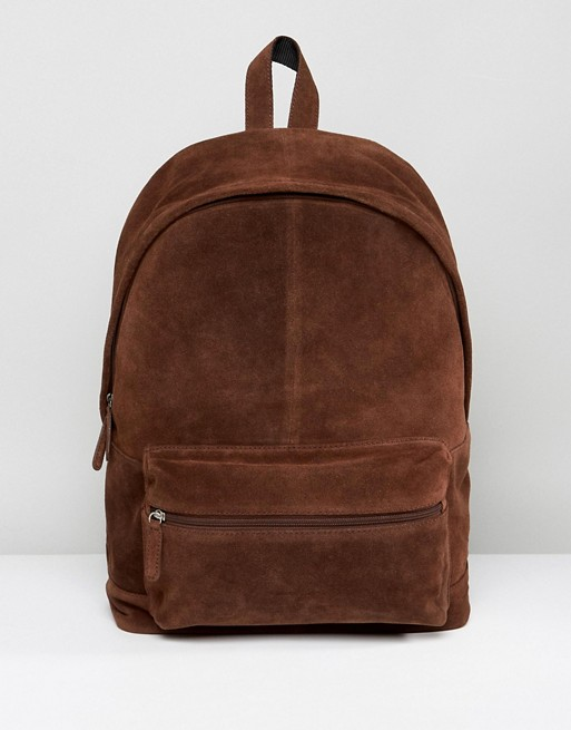 ASOS Backpack In Brown Suede at asos.com