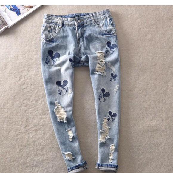 mickey mouse disney jeans vintage denim
