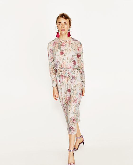 dbda1b0c PRINTED FLOWING DRESS - Midi-DRESSES-WOMAN   ZARA United States