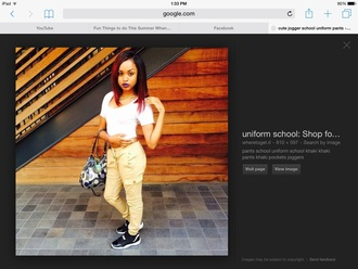 pants light brown joggers school outfit