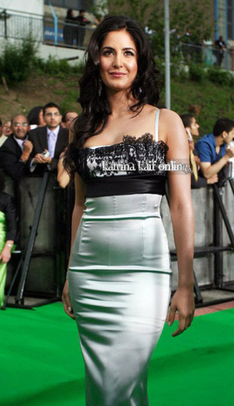 dress metallic dress lace silver dress with lace long dress pretty katrina kaif