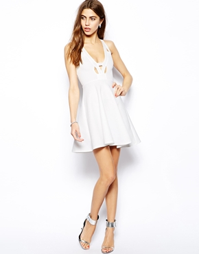 Oh My Love | Oh My Love Skater Dress with Notch Plunge Neck at ASOS