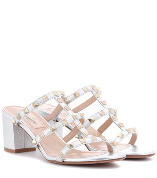 Valentino metallic sandals leather sandals leather silver shoes