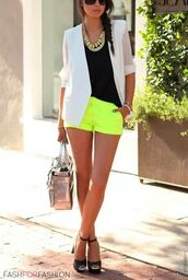 shorts,blouse,jewels,neon,neon yellow