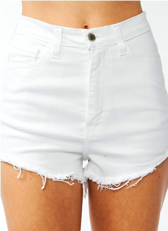 high waisted shorts white