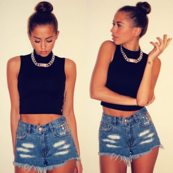 shorts High waisted shorts tank top jewels