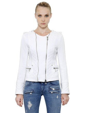 jacket biker jacket cotton white