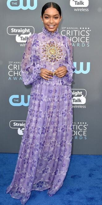 dress lilac maxi dress yara shahidi long sleeve dress