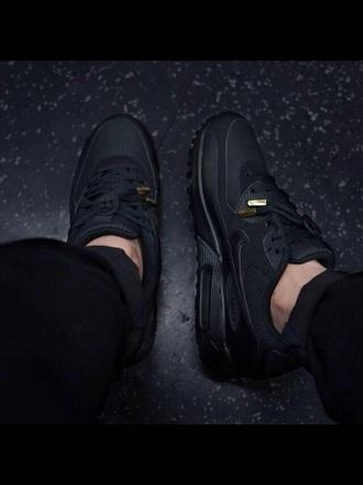 nike air nike air max 90 triple black black lace gold tips