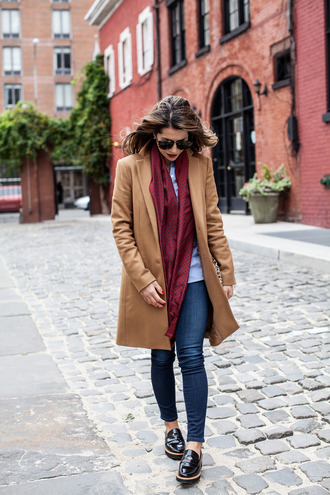 the corporate catwalk blogger scarf sunglasses camel coat loafers silk scarf black loafers red scarf camel cold weather outfit