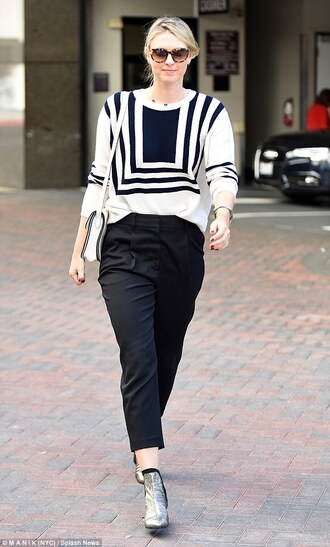 shoes printed top silver ankle boots tumblr silver boots silver shoes ankle boots pants black pants cropped pants top black and white sunglasses fall outfits office outfits work outfits