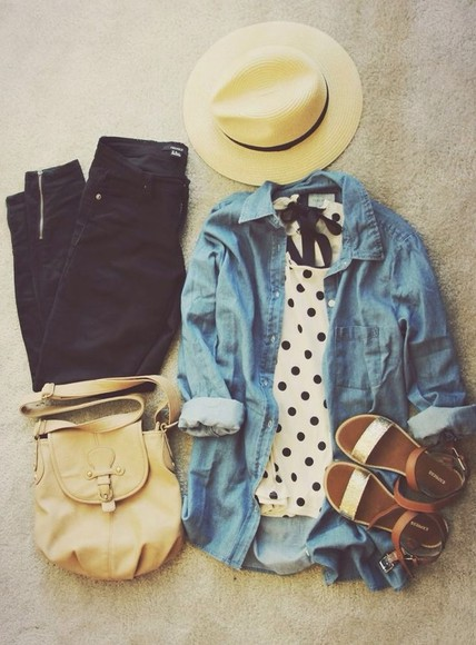 bag shoes flats shirt polka dots jean jacket denim gladiators sandals flat sandals jeans hat blouse t-shirt