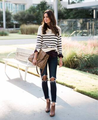 jeans brown boots tumblr blue jeans ripped jeans skinny jeans boots ankle boots sweater stripes striped sweater bag brown bag