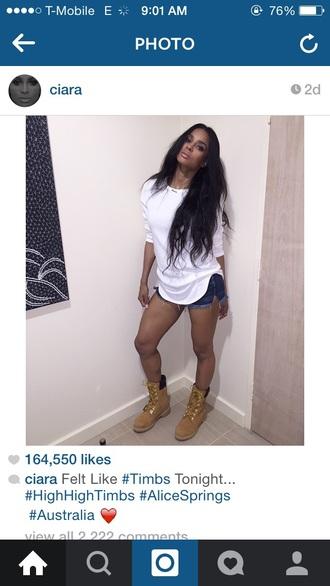timberlands ciara boots shoes shorts t-shirt denim outfit dope black girls killin it shirt
