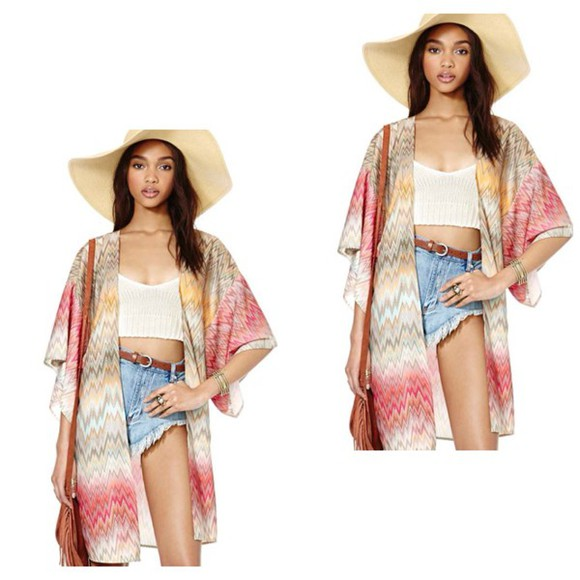 folk top kimono native american nude brown