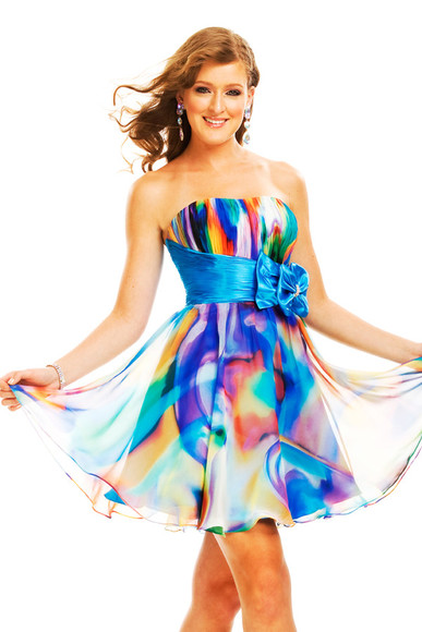 dress mini multi-color aqua psychedelic strapless